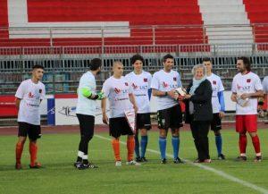 La Presidente durante la finale di coppa allo stadio di Rimini con la FIGC
